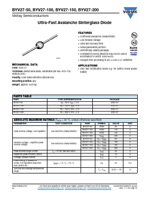 Byv27-400/a52r datasheet diode ultra fast 2. 4a.