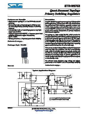 STR-W6753 Datasheet PDF - Sanken Electric co ,ltd