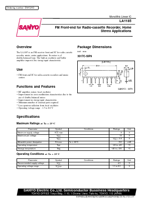 LA1185 Datasheet PDF - SANYO -> Panasonic