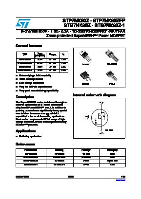 STB7NK80Z-1 image
